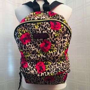 Pink Roses and Black Leopard Print Backpack